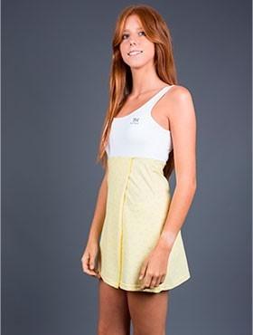 Vestido amarillo-blanco